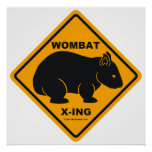 Señal de tráfico de Wombat X-ing Poster