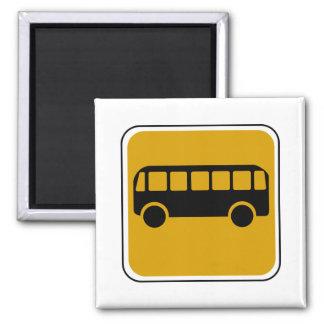 Señal de tráfico del autobús del vintage imán cuadrado