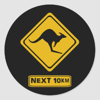señal de tráfico del canguro pegatina redonda