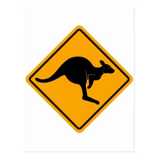 Señal de tráfico del canguro postales
