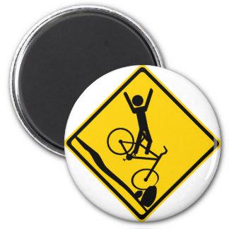 Señal de tráfico del desplome del motorista de Mtn Imán Para Frigorífico