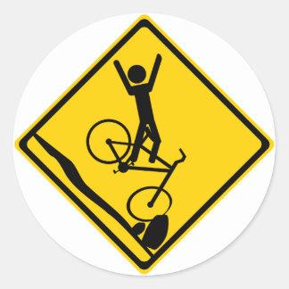 Señal de tráfico del desplome del motorista de Mtn Pegatinas Redondas