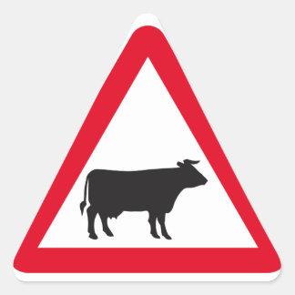 Señal de tráfico del ganado pegatina triangular