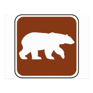 Señal de tráfico del oso del vintage postal