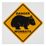 Señal de tráfico del peligro de Wombat Posters