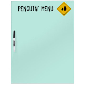 señal de tráfico del pingüino pizarra blanca