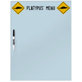 señal de tráfico del platypus pizarra blanca