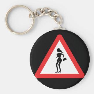 Señal de tráfico del tráfico de la prostituta de llavero redondo tipo pin