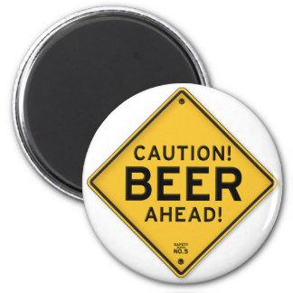 Señal de tráfico divertida de la cerveza de la imán redondo 5 cm