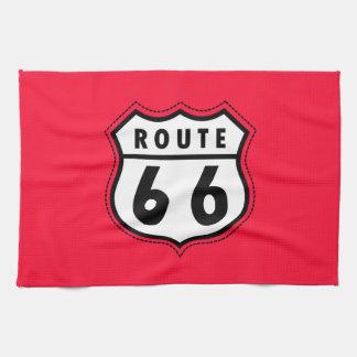 Señal de tráfico roja de la ruta 66 del escarlata toalla de cocina
