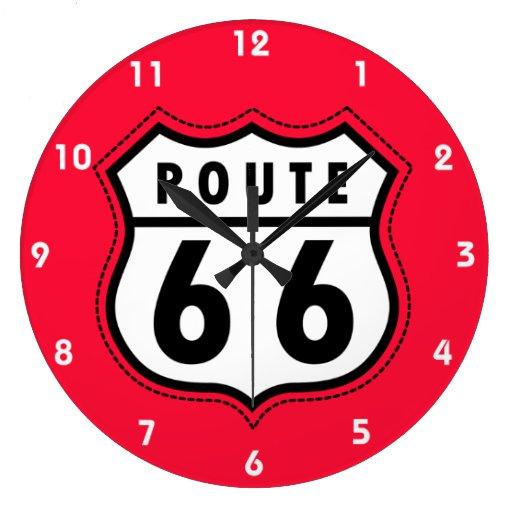 Señal de tráfico roja de la ruta 66 del escarlata reloj redondo grande