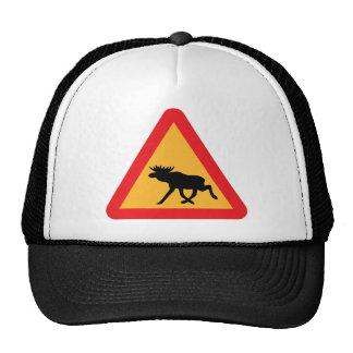 Señal de tráfico sueca de los alces de la precauci gorra