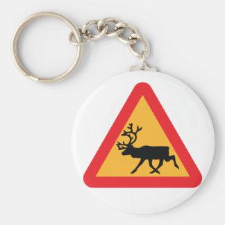Señal de tráfico sueca del reno de la precaución llavero redondo tipo pin