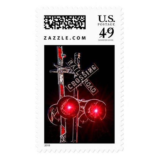 Señal de travesía de neón de ferrocarril sellos