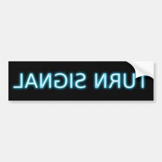 señal de vuelta etiqueta de parachoque