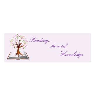señal del conocimiento del árbol del libro tarjetas de visita mini