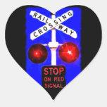 Señal del cruce ferroviario pegatina corazón personalizadas