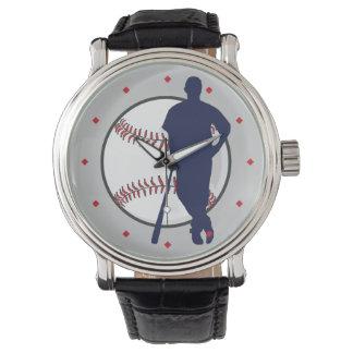 Señal del diamante del jugador de béisbol reloj