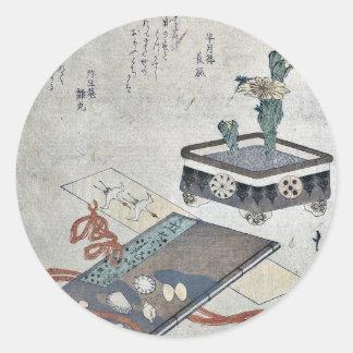 Señal del diario de Tosa por Totoya, Hokkei Pegatina Redonda