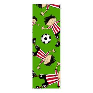 Señal del fútbol del muchacho del fútbol tarjeta de visita