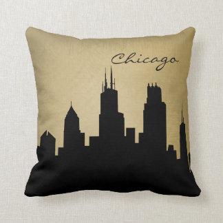 Señal del horizonte de Chicago del Grunge Cojín