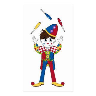 Señal del payaso de circo que hace juegos tarjetas de visita