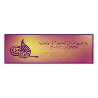 Señal del Quran con verso árabe Tarjeta De Negocio