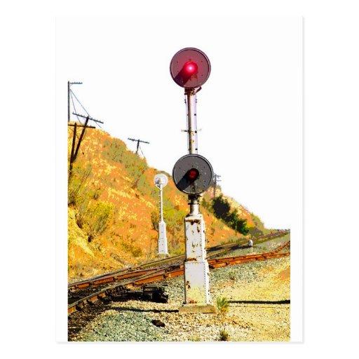 Señal del reflector del ferrocarril tarjeta postal