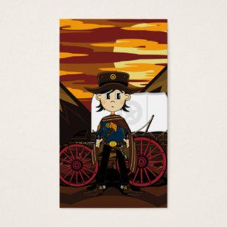 Señal del sheriff y del carro de tirada tarjetas de visita