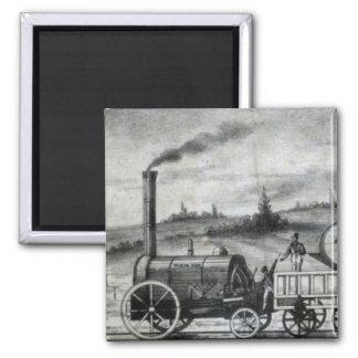 Señal del tren del carril del vintage 1831 imán cuadrado