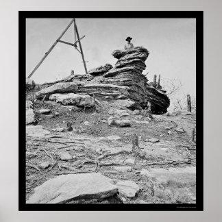 Señal del trípode en la montaña 1864 del puesto de poster