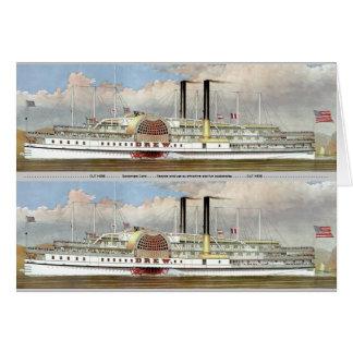 Señal del vapor 1877 del río Hudson Tarjeta Pequeña