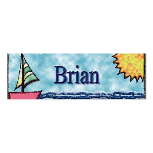 Señal del velero de Brian Tarjetas De Visita Mini