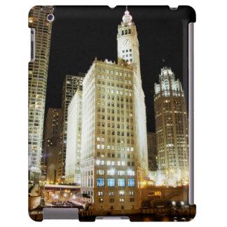 Señal famosa de Chicago en la noche Funda Para iPad