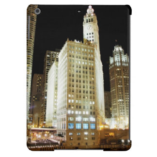 Señal famosa de Chicago en la noche Funda Para iPad Air