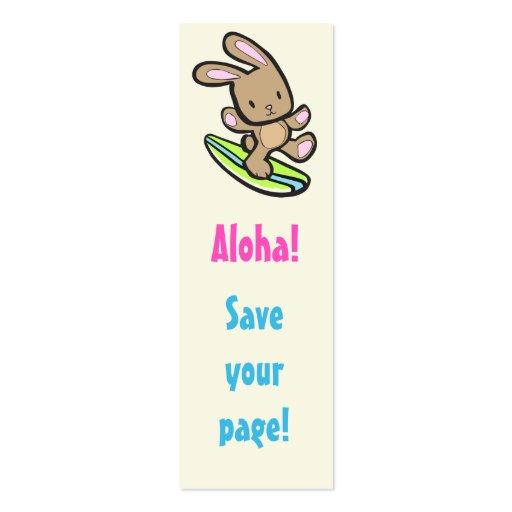 Señal flaca del conejito que practica surf tarjetas de visita