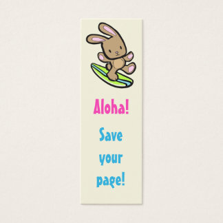 Señal flaca del conejito que practica surf tarjetas de visita mini