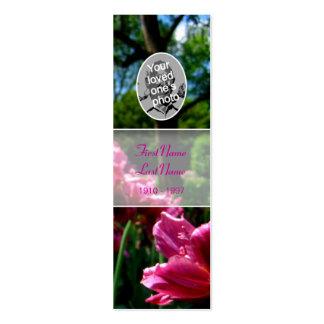 Señal floral del tulipán del rosa de la foto de la tarjetas de visita