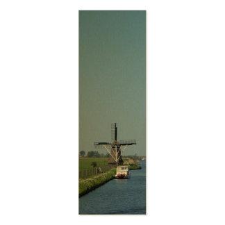 Señal holandesa de la foto del río del molino de tarjetas de visita mini