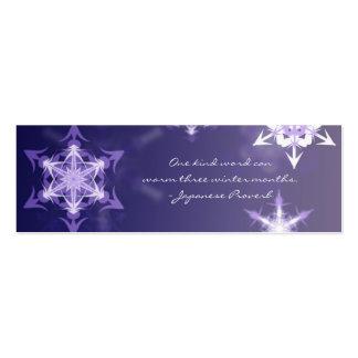 Señal inspirada del copo de nieve del invierno con tarjetas de visita mini