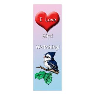 Señal linda de la observación de pájaros del amor tarjetas de visita mini