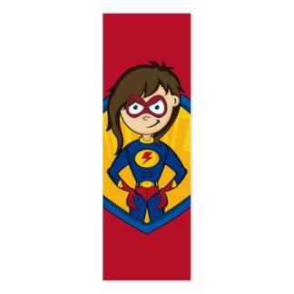 Señal linda del chica del super héroe tarjetas de visita mini