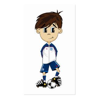 Señal linda del muchacho del fútbol de Inglaterra Plantillas De Tarjetas Personales