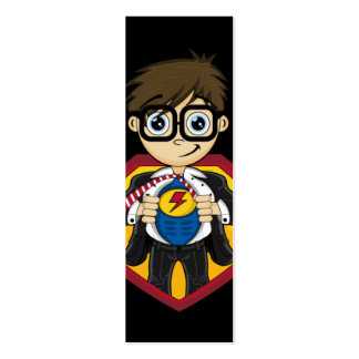 Señal linda del muchacho del super héroe tarjetas de visita mini