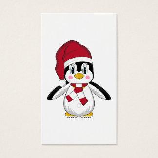 Señal linda del pingüino del navidad tarjeta de negocios