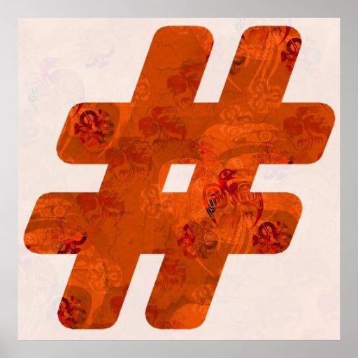 # señal - naranja en blanco póster