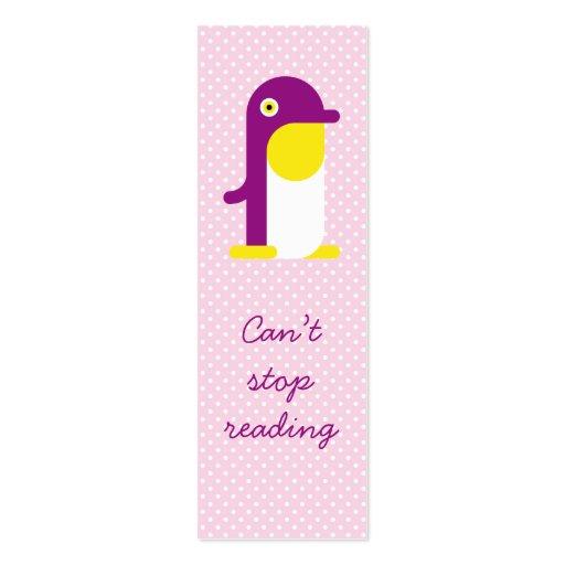 Señal púrpura del pingüino tarjeta personal