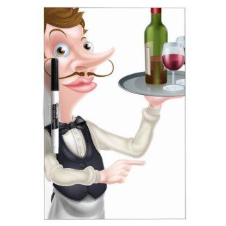 Señalar al camarero de vino pizarras