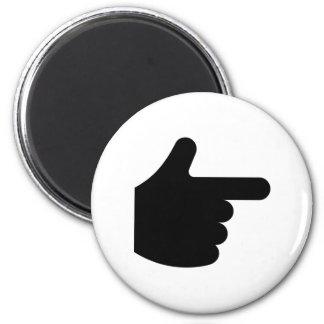 Señalar el dedo imán para frigorífico