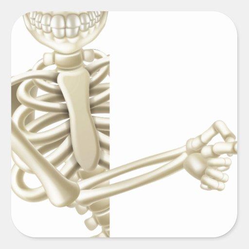 Señalar el esqueleto de Halloween del dibujo Pegatina Cuadrada